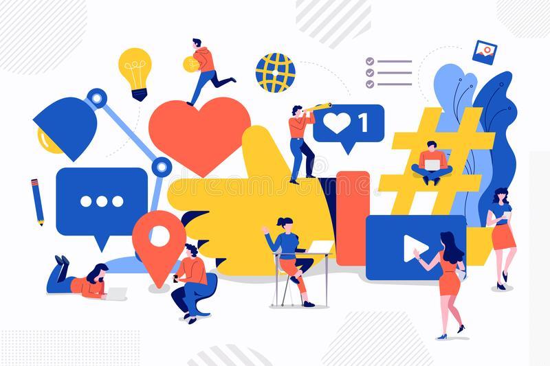 teamwork social media illustrations design concept big social media icons development via teamwork small people buisiness man 123042806 - Different Roles Internet Play in Education